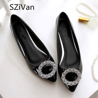 SZiVan Spring New Women Singles Shoes Fashion Pointed Comfortable PU Patent Leather Candy Colored Flat Shoes