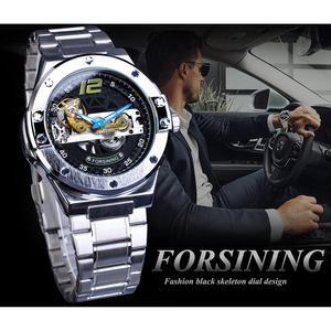 Image 3 - Forsining Ponte de Ouro Relógio Mecânico Dos Homens Mão Azul Caso Presente do Amante Da Moda Cinta de Aço Inoxidável Relógio Automático Transparente