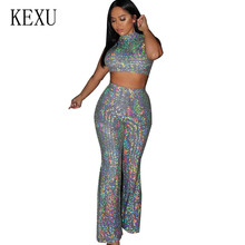 KEXU Bling Sequin Jumpsuits Women Short Sleeve 2 Pieces Sets Sparkly Bodycon Playsuits Sexy Rompers Glitter Club Party Overalls