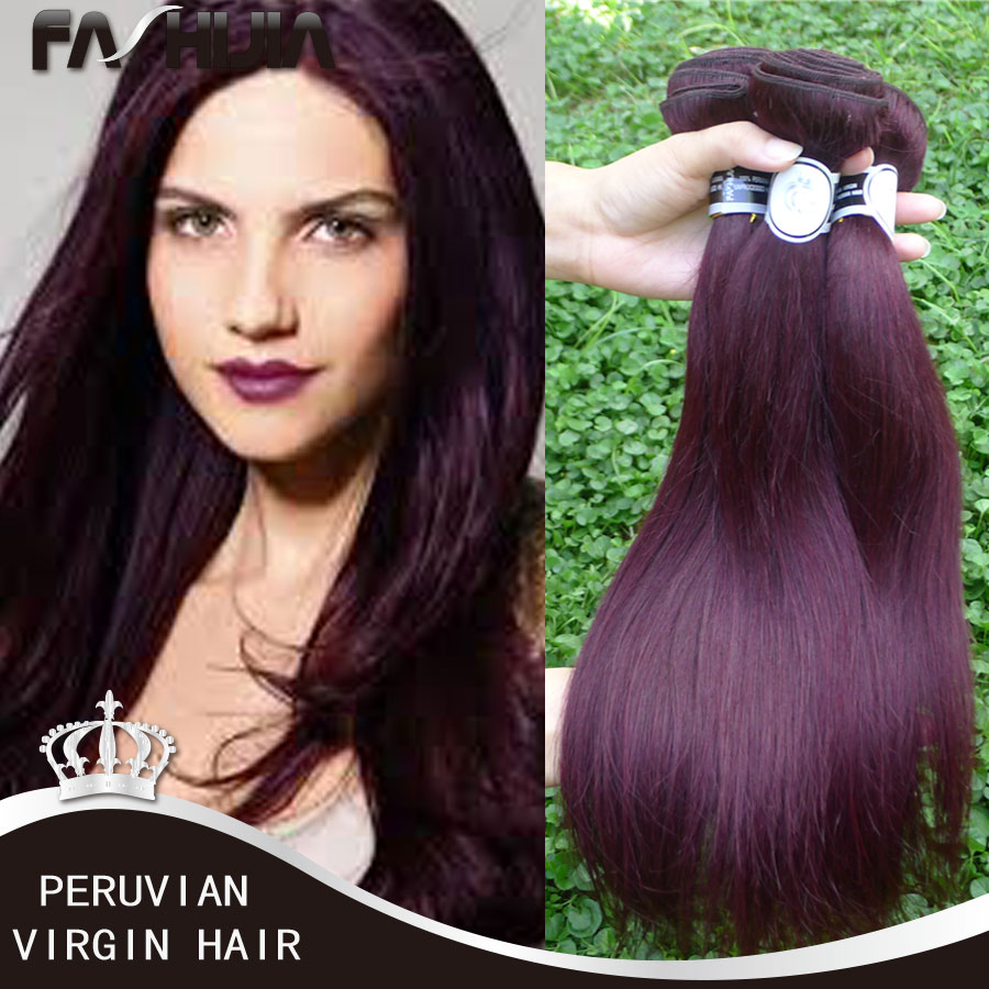 Straight hair perm products - Cheap Soft Hair Products Peruvian Virgin Hair Straight Burgundy Weave 99j Straight Wave Red Wine