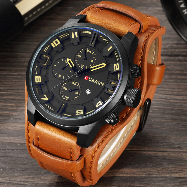 CURREN 2019 New Men Fashion Quartz Watches Men's Army Leather Sports Wrist Watch Military Date Male Clock Relogio Masculino 2