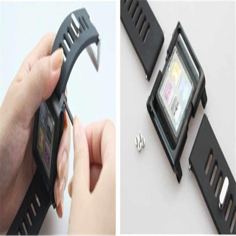 Dây Đeo Đồng Hồ Nhôm Silicone Phối Lưng Đa Năng Dây Đồng Hồ Cho Ipod Nano 6/6th Dây Silicone Ban Nhạc dây Đeo 2020 Hàng Mới Về