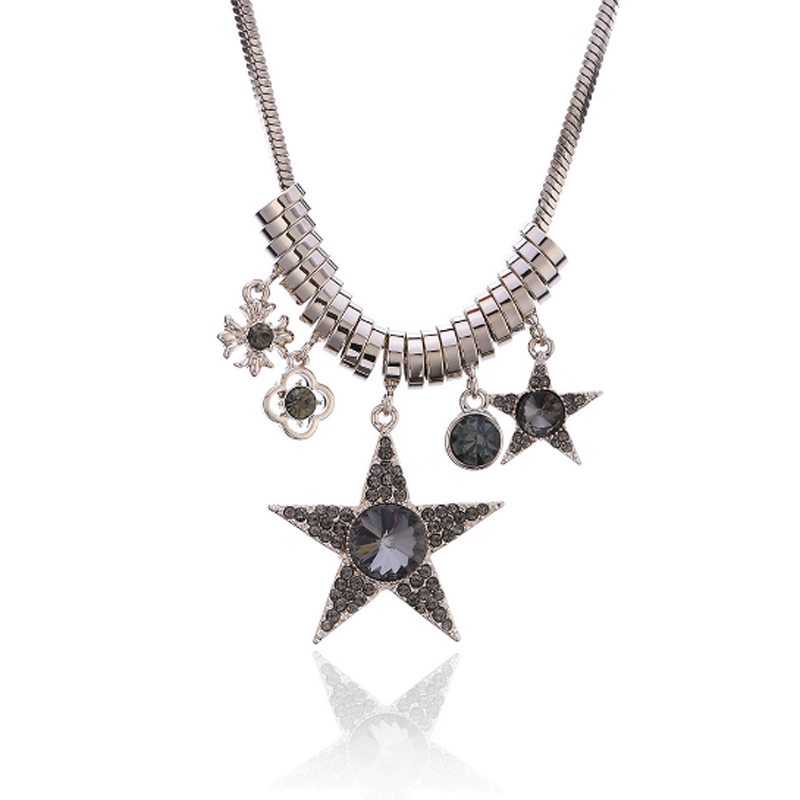 Trendy Crystal Star Necklace Women Sweater Chain Tassel Long Cross Pendant Accessories Gifts