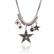 цена на Trendy Crystal Star Necklace Women Sweater Chain Necklace Tassel Sweater Long Cross Pendant Necklace Accessories Gifts