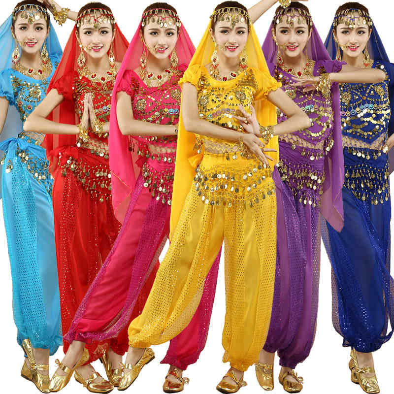 4pcs Sets Sexy India Egypt Belly Dance Costumes Bollywood