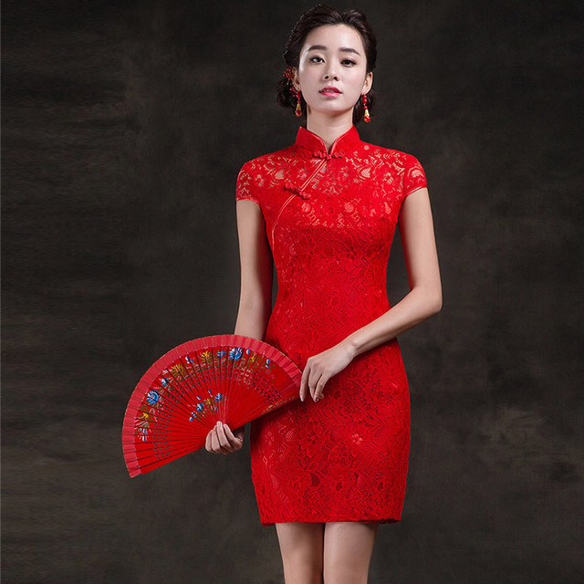 c7f85ace2 Bride Cheongsam Modern Dress Red Mini Qipao Short Chinese Traditional Dress  Robe Orientale Lace Qi Pao Vestido Oriental QL