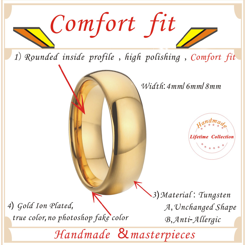 Anniversary Alliances Wedding Band Couple Rings 468mm Gold Color Fashion Jewelry Tungsten carbide Rings for women (5)