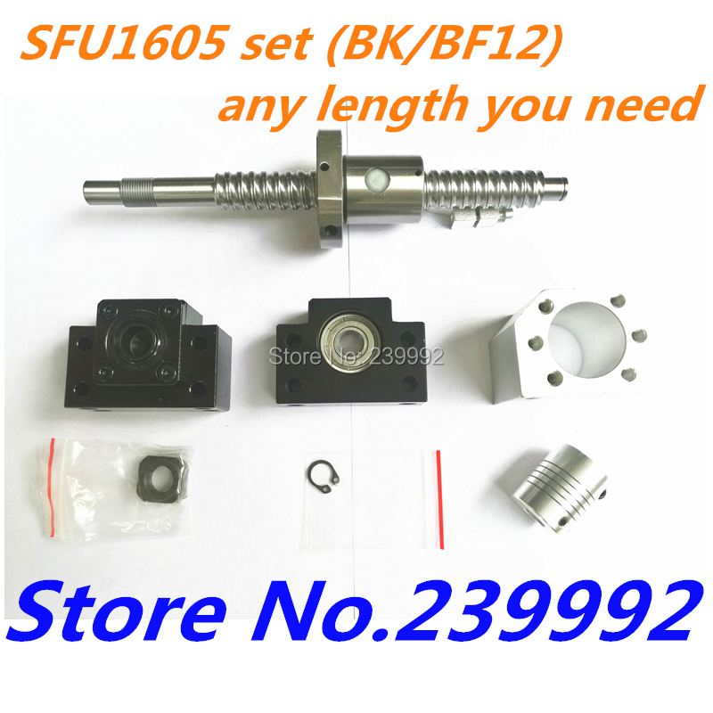 NEW SFU1605 set : SFU1605 rolled screw C7 with end machined + 1605 ball nut + nut housing+BK/BF12 end support + coupler RM1605-in Linear Guides from Home Improvement    1