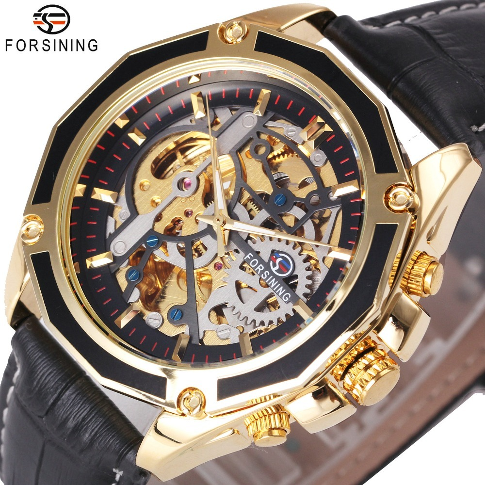 FORSINING Top Brand Luxury Men Automatic Mechanical Watch Genuine Leather 3D Design Skeleton Dial Metal Bezel Wrist Watches forsining classic series black genuine leather strap 3 dial 6 hands men watch top brand luxury automatic mechanical watch clock