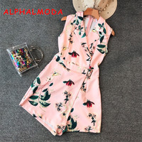 ALPHALMODA 2018 Summer Flora Printed Suit Collar Sleeveless Playsuits Asymmetrical Buckle Sashes Waist Women Slim Casual Rompers