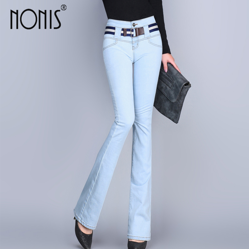 Nonis әйелдер Spring Autumn Slim Fit Жоғары белдемесі Flare джинсы Plus Size Stretch Skinny Jeans шалбар Denim шалбар