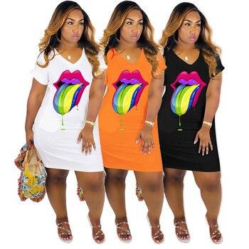 2020 New Women Casual V Neck Big Lips Printed Dresses Plus Size Loose Short Sleeve Dress S-XXL 3XL fashionable round neck short sleeve plus size printed dress for women