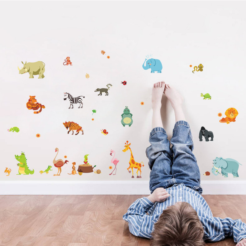 funny happy animals zoo cute dinosaur zebra giraffe snake diy home decal wall sticker for kids