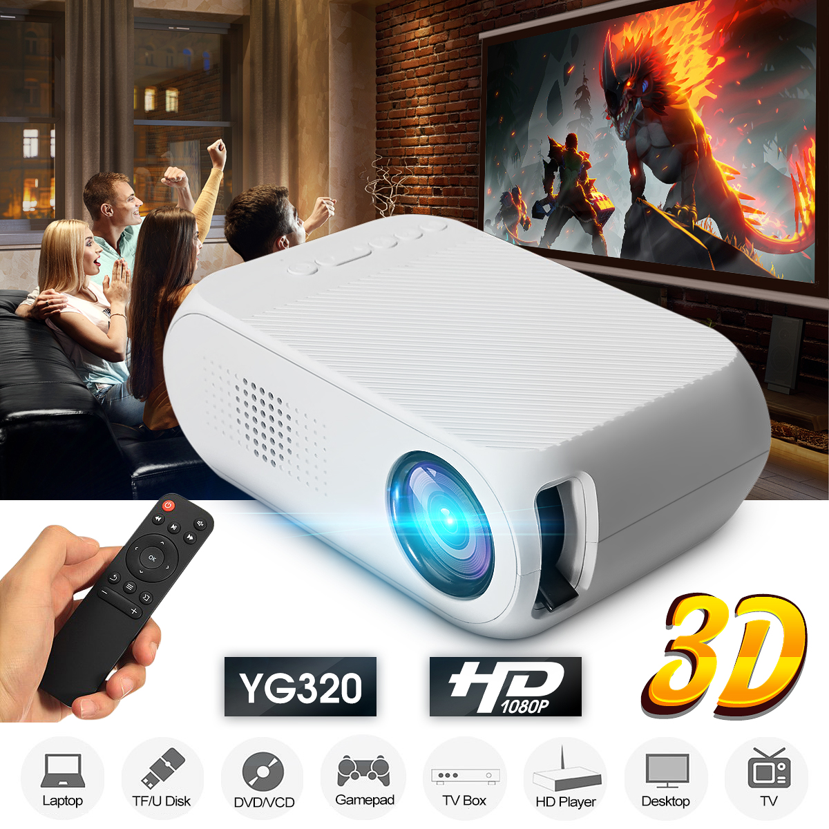 YG-320 Mini LCD LED 1080P HD Projector 400-600 Lumens 320 x 240 Pixels Home Video Theater Media Player Cinema Portable Projector
