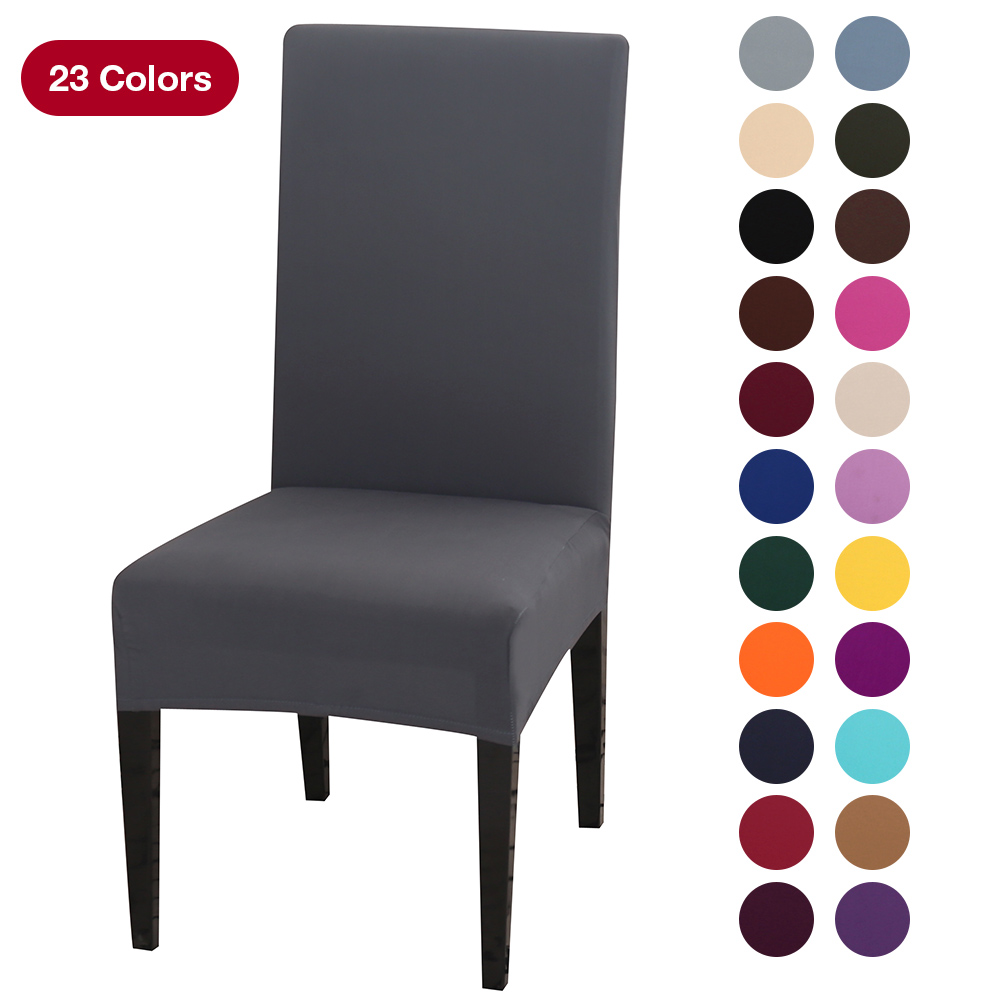White Dining Room Chair Covers: Solid Color Chair Cover Spandex Stretch Elastic Slipcovers