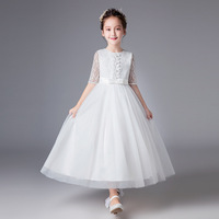 2019 New Lace Princess Long Dresses for Flower Girls Tulle Dress Kids Prom Gown Designs Big Girl Teenagers Evening White Dresss