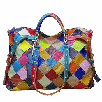 600 New Special Cowhide Leather Totes Colourful Collision Fashion Personality Tide Single Shoulder Bag Women Handbag