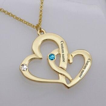 87f0536b81cb Elegante corazón Birthstone collar nuevo anuncio grabado nombre collares  joyas precio de fábrica para usted YP2486
