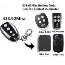 For DITEC GOL4  NICE Flor-s  V2 remote control 433.92mhz Rolling Code command original nice flor s remote control 433 92mhz nice flo2r s universal garage gate door remote control including battery
