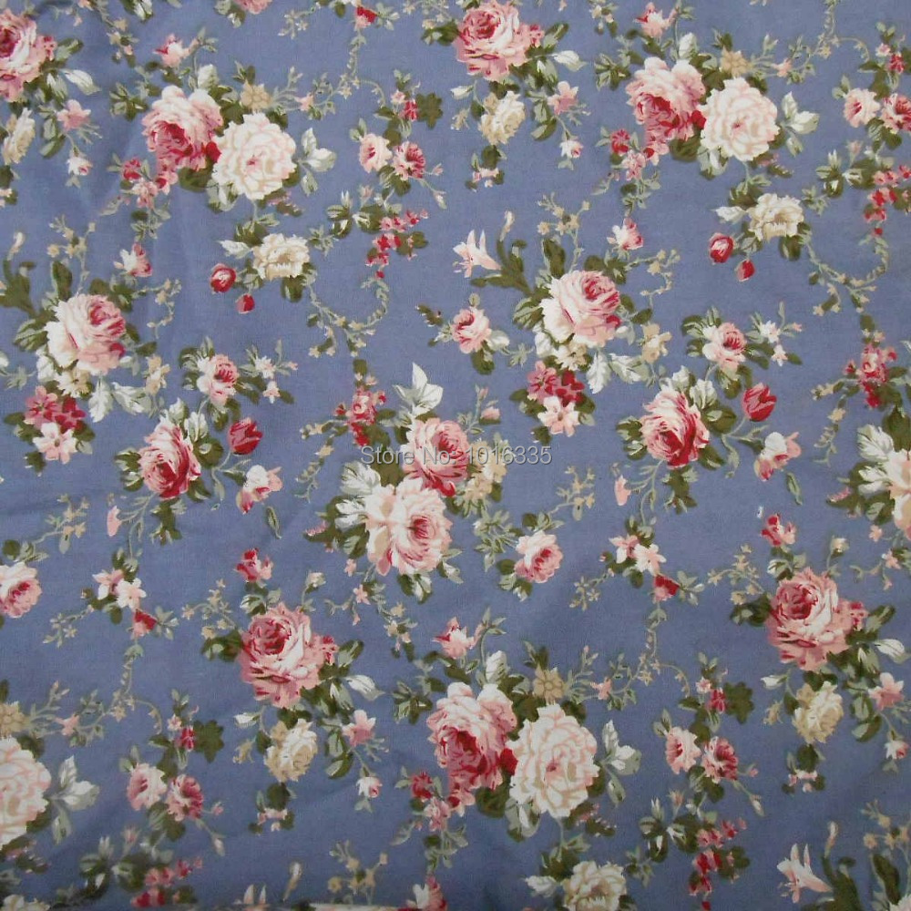 Floral Fabric 100/% Cotton Roses Material By The Metre Vintage Pink Blue Crafts