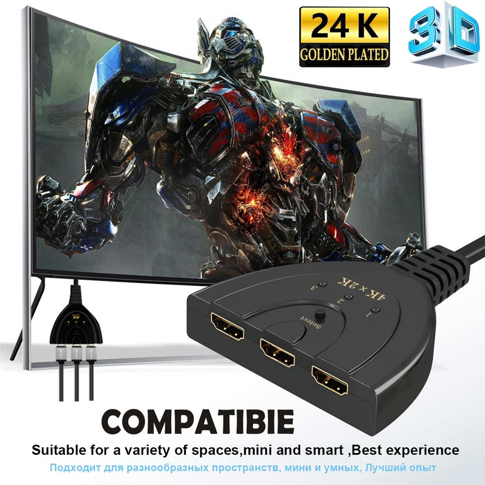 Ingelon 3 Port HDMI Splitter Switch Cable 3in1 hdmi adapter high quality Audio and Video 1080P 4K Switcher for HD DVD Xbox PS3 (5)