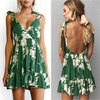 Summer Dress Female Deep V Neck Sexy Dress Backless Sleeveless Print Mini Dress Bohemia High Waist