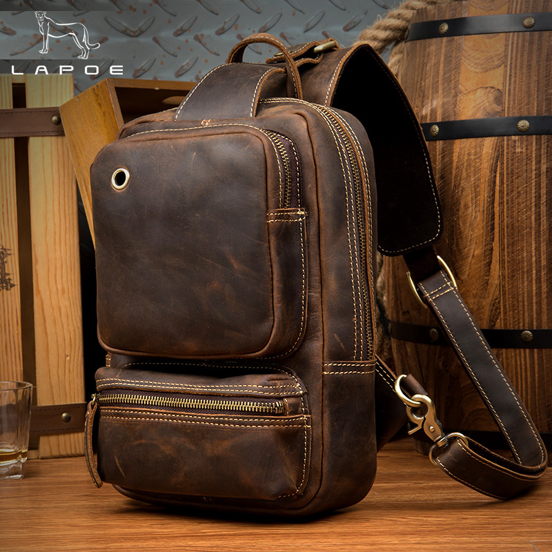 LAPOE CrossBody Chest Bag Crazy Horse Leather Men bags Vintage Genuine Leather Chest Packs Retro Sling Bags Zipper Shoulder Bag famous brand men chest bags theftproof open fashion leather travel crossbody bag man messenger bag crazy horse leather bag chest