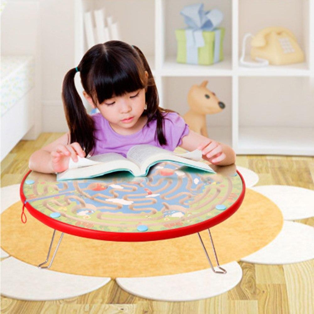 Enfants jouets éducatifs en bois labyrinthe marche perles glisser jeux de société annulaire magnétique piste brosse labyrinthe développement intellectuel