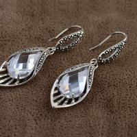 S925 srebrny tajski srebrny markazyt biały cyrkon kryształowe kolczyki jasne osobowość delikatne słodkie słodkie temperament