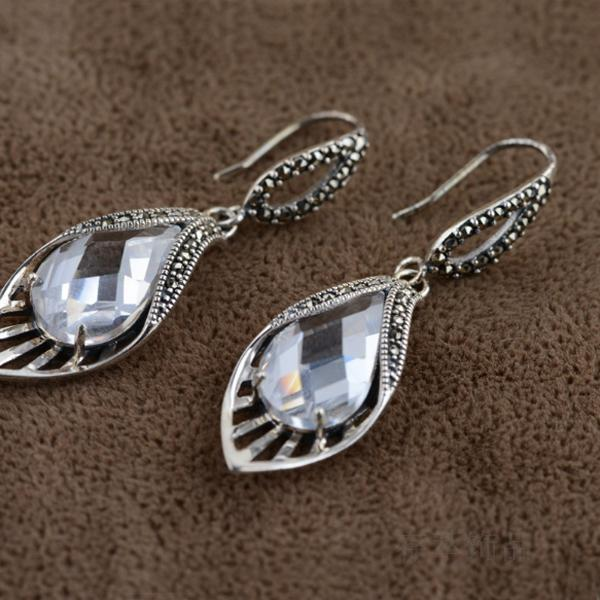 S925 sterling silver Thai silver Marcasite white zircon crystal earrings bright personality delicate sweet cute temperament white sweet delicate lace panties