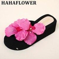 HAHA BLUME Sexy Weibliche Slipper Flip-Flops Strand Sandalen Blume perle Hausschuhe