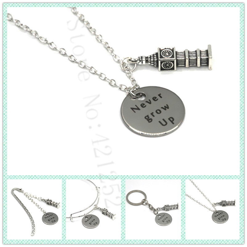 Hot Sale 12pcslot The Peter Pan Quote Never Grow Up Necklace