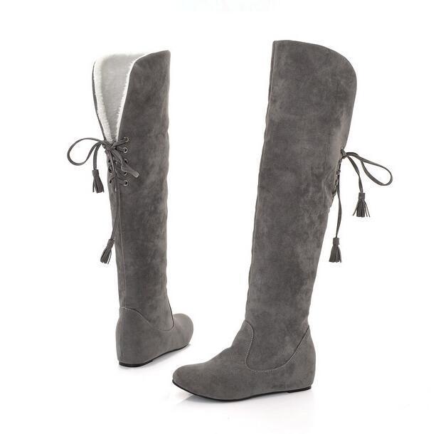 Mulheres Na Altura Do Joelho Botas longas Botas de Outono Inverno de lã grossa Quente heighten dentro sobre o joelho botas de neve botas flat Botas Mujer 34-43