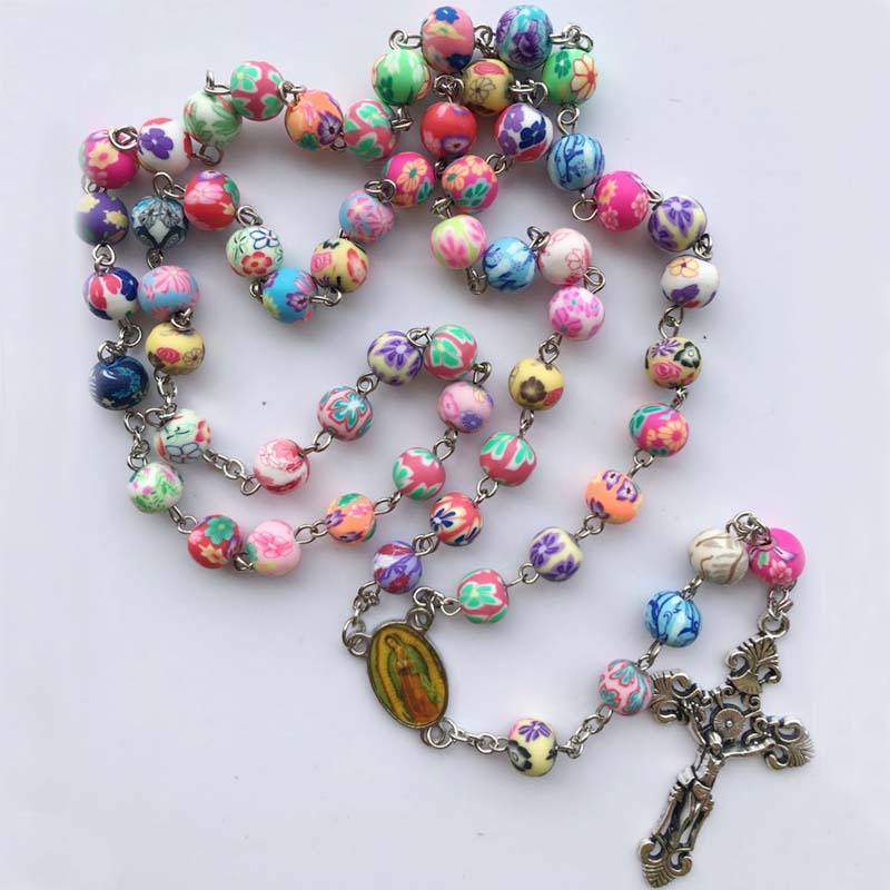 Free shipping 2017 fashion polymer clay round bead catholic rosary colorful quality bead cross necklace