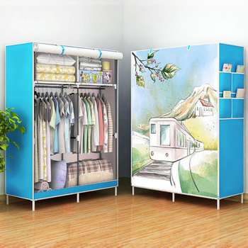 3D Panoramic Pattern Simple Cloth Wardrobe 360 Degree Dustproof  Reinforced Steel Pipe Assembly Wardrobe Bedroom Storage Cabinet
