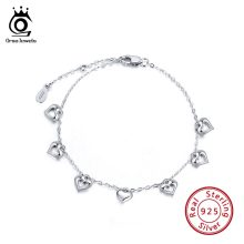 ORSA JEWELS 100% Real 925 Sterling Silver Women Bracelets Heart Shape High Polished Girls Love Wedding Silver Jewelry Gifts SB37(China)
