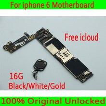 Черный, белый, золотой, для iphone 6 4,7 дюйма материнская плата с сенсорным ID, Оригинал разблокирован для iphone 6 материнская плата + чипы, Бесплатный iCloud