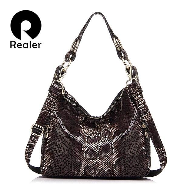 REALER Дизайнерская женская сумка из натуральной кожи со змеиным узором, модная дамская сумка-мессенджер высокого качества сумка через плечо