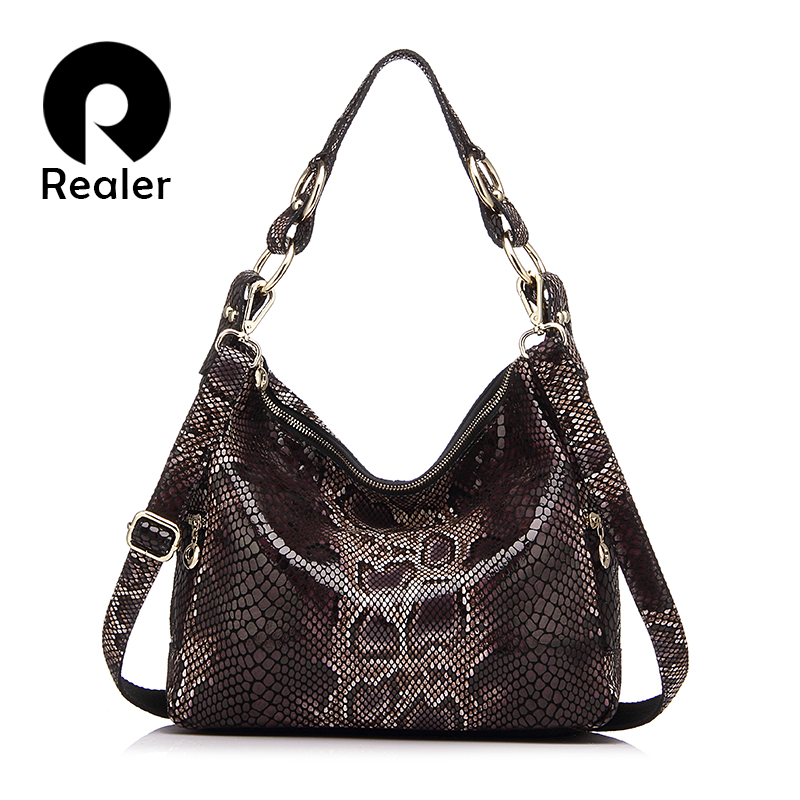 REALER brand women handbag genuine leather tote bag female classic serpentine pr