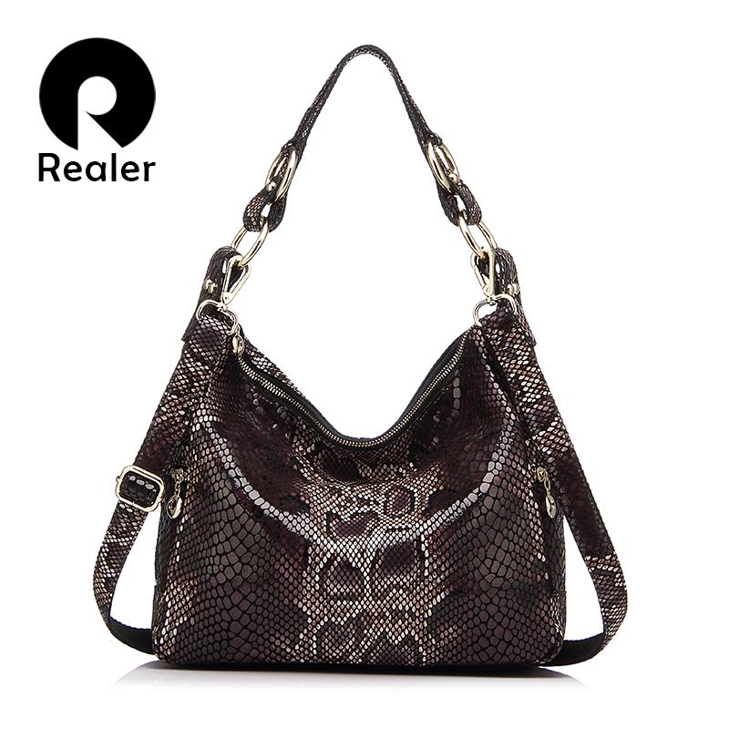 Prix pour Realer marque femmes sac à main en cuir véritable fourre-tout sac femelle classique serpentine affiches sacs à bandoulière dames sacs à main sac de messager