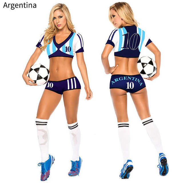 8f477d6f8 Lady Football Baby High School Girl Sexy Cheerleader Jersey Costume Top  Shorts Set Player Soccer Uniform