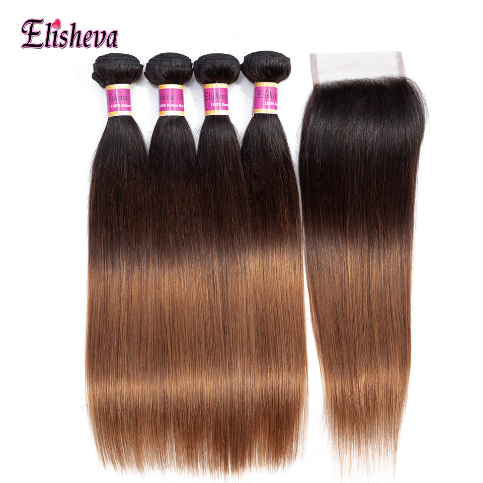 Elisheva 1B 4 30 Ombre Straight Human Hair Colored Bundles With Closure 3Tone Ombre Brazilian Hair