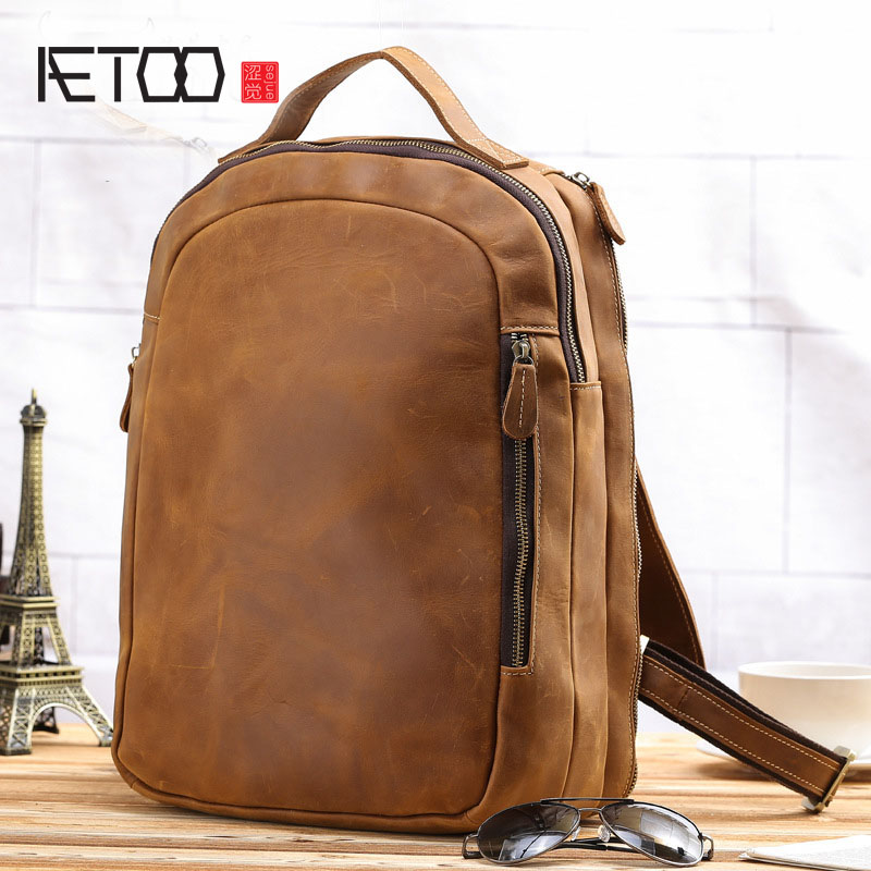 AETOO New retro mad horse skin men shoulder bag personalized leather leisure travel bag bag aetoo the new retro mad horse skin backpack fashion shoulder shoulder leather package tide package