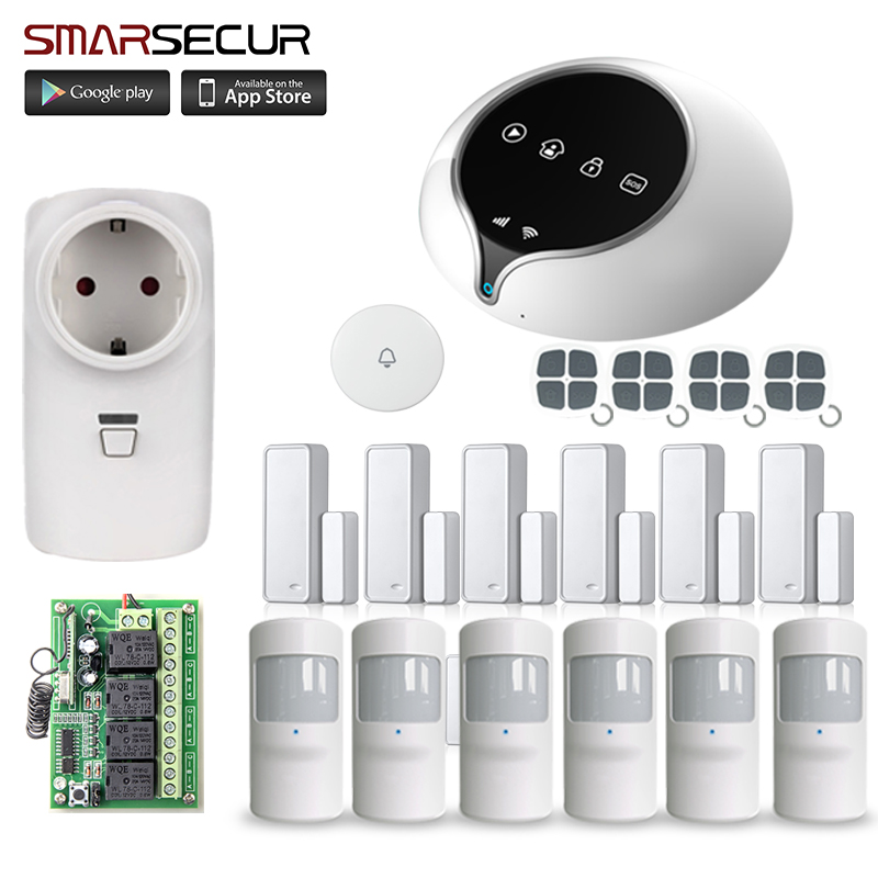 Smarsecur smart GSM wifi Alarm Wireless IOS/Android APP Home Burglar Security Protection Alarm System with PIR motion sensor yobangsecurity gsm wifi burglar alarm system security home android ios app control wired siren pir door alarm sensor