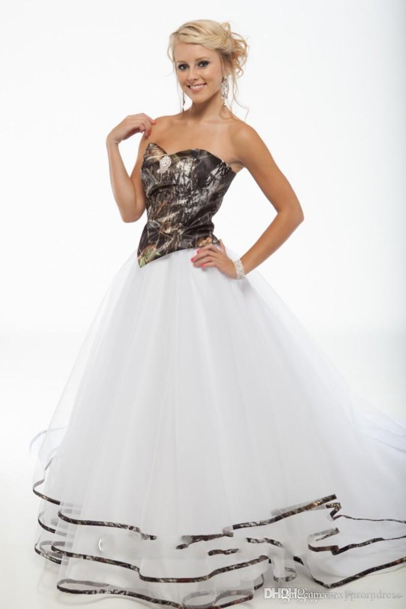 2017 new ball gowns open back white and camouflage gothic boho bridal skirt camo wedding dresses