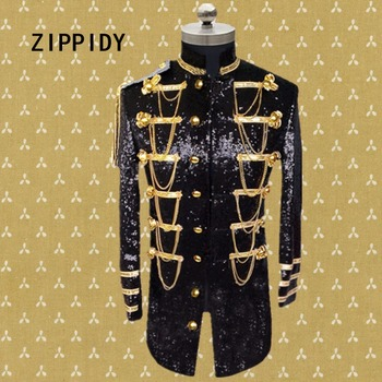 Plus Size S-4XL Silver Or Black Sequins Chains Epaulet Medium Men's Jacket Nightclub Male Singer Ds Stage Dj Show Costume Outfit