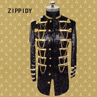 Plus Size S 4XL Silver Or Black Sequins Chains Epaulet Medium Men's Jacket Nightclub Male Singer Ds Stage Dj Show Costume Outfit