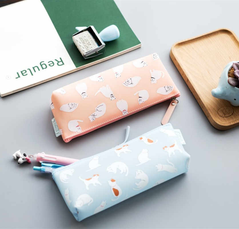 Moda criativa papelaria bonito gato lápis casos de alta qualidade lápis caso saco estudantes presente escola & escritório suprimentos