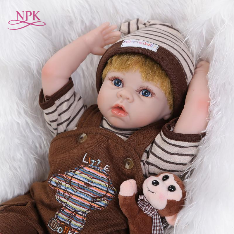 NPK Fashion 22Inch Silicone Vinyl Baby Reborn Dolls in Monkey suit with Synthetic hair Newborn Handmade doll Kids toys