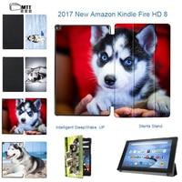 MTT Print SIBERIAN HUSKY Folio PU Leather Stand Book Cover Case For 2017 Amazon Kindle Fire